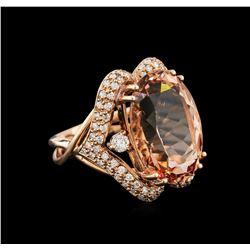 16.04 ctw Morganite and Diamond Ring - 14KT Rose Gold