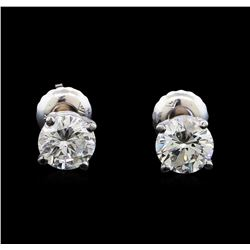 1.10 ctw Diamond Stud Earrings - 14KT White Gold