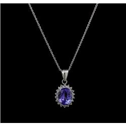 4.65 ctw Tanzanite and Diamond Pendant With Chain - 14KT White Gold