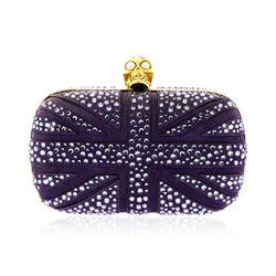 Alexander McQueen Purple Suede Jewel Embroidered Clutch