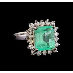 4.96 ctw Emerald and Diamond Ring - 14KT White Gold