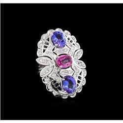 3.20 ctw Tanzanite, Pink Sapphire and Diamond Ring - 14KT White Gold