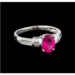 1.18 ctw Pink Tourmaline and Diamond Ring - 14KT White Gold