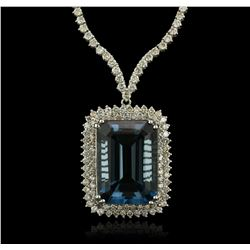 14KT White Gold 47.59 ctw Blue Topaz and Diamond Necklace