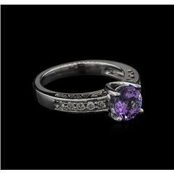 1.39 ctw Tanzanite and Diamond Ring - 14KT White Gold