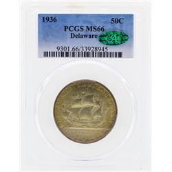 1936 Delaware Commemorative Half Dollar Coin PCGS MS66 CAC