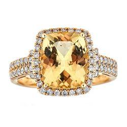 3.51 ctw Beryl and Diamond Ring - 14KT Yellow Gold