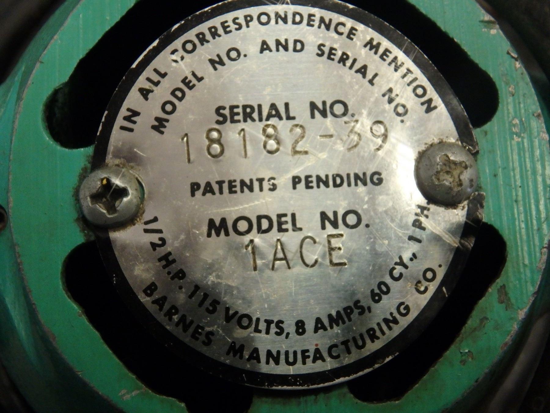Barnes 1/2 HP Submersible Pump, M/N: 1ACE