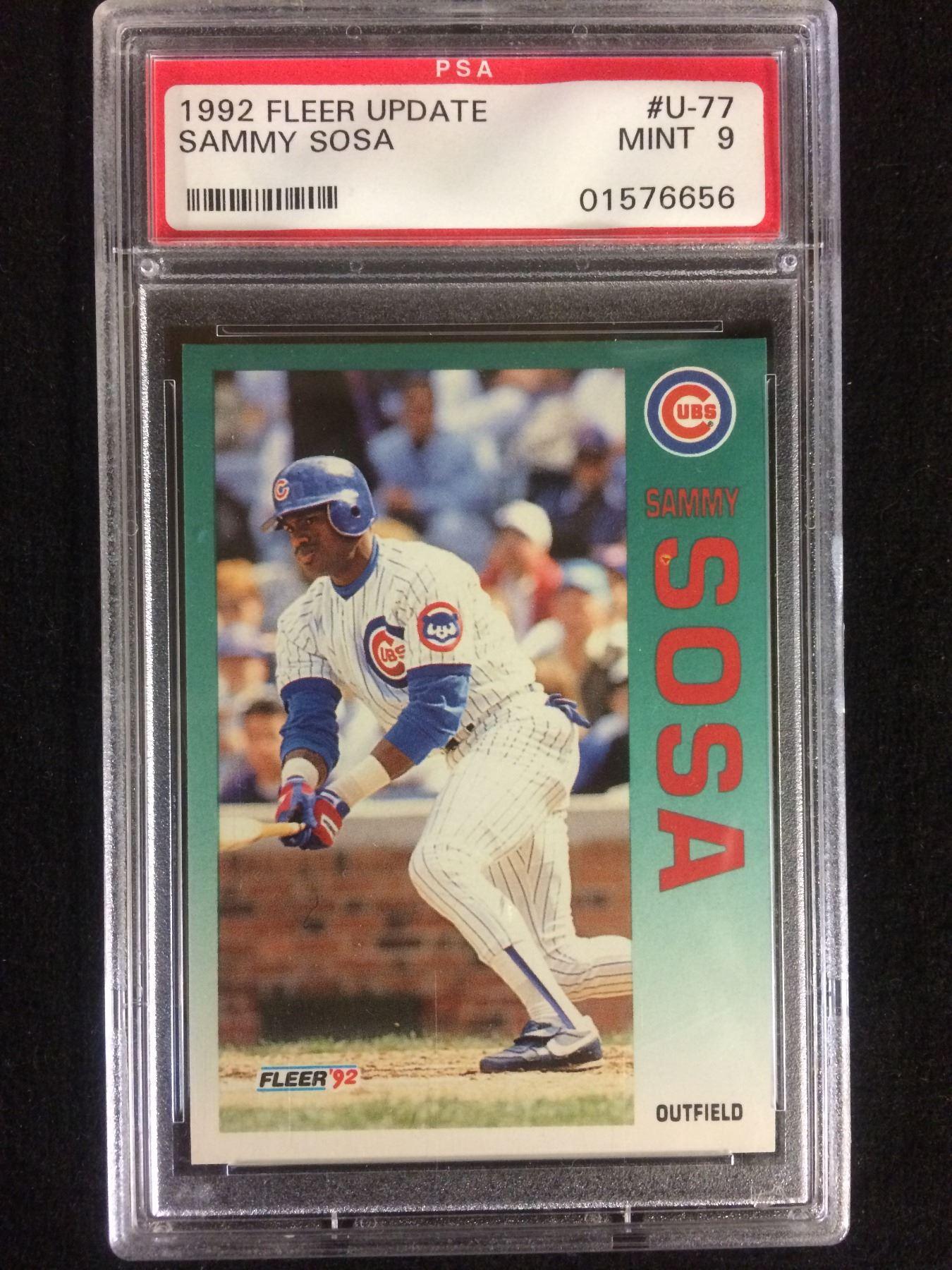 1992 Fleer Update U 77 Sammy Sosa Baseball Card Lot Mint 9 Psa Graded