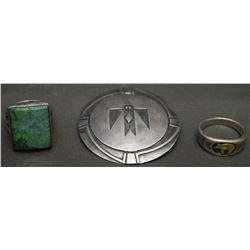 TWO NAVAJO RINGS AND PIN