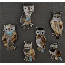 SIX ZUNI OWL PINS