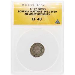 1617 Bohemia Matthias AR Maley Groschen Coin ANACS XF40