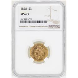1878 $3 Indian Princess Head Gold Coin NGC MS63