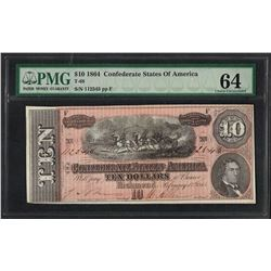 1864 $10 Confederate States of America Note T-68 PMG Choice Uncirculated 64