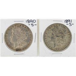 Lot of 1890-S & 1891-S $1 Morgan Silver Dollar Coins