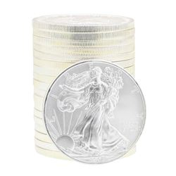 Lot of (19) 2008 Brilliant Uncirculated $1 American Silver Eagle Coins