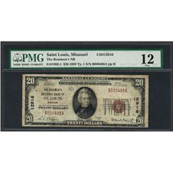 1929 $20 National Currency Note Saint Louis, Missouri CH# 12916 PMG Fine 12