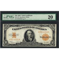 1922 $10 Gold Certificate Note Fr.1173 PMG Very Fine 20