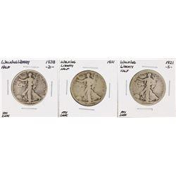 Set of (3) Walking Liberty Half Dollar Key Date Coins