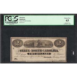 1863 $2 State of North Carolina Obsolete Bank Note PCGS Choice New 63