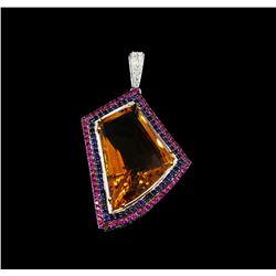 18KT White Gold 57.63 ctw Citrine Quartz, Sapphire and Diamond Pendant