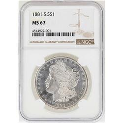 1881-S $1 Morgan Silver Dollar Coin NGC MS67