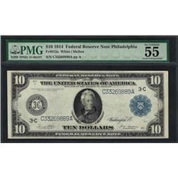 1914 $10 Federal Reserve Note Philadelphia Fr.915a PMG About Uncirculated 55EPQ