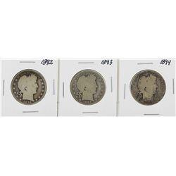 Lot of 1892-1894 Barber Half Dollar Silver Coins
