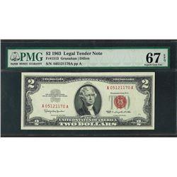 1963 $2 Legal Tender Note Fr.1513 PMG Superb Gem Uncirculated 67EPQ