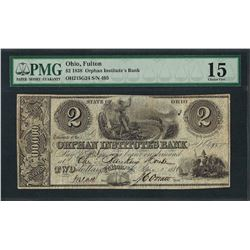 1838 $2 Orphan Institute's Bank Obsolete Note PMG Choice Fine 15
