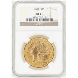 1899 $20 Liberty Head Double Eagle Gold Coin NGC MS61