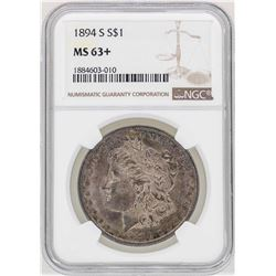 1894-S $1 Morgan Silver Dollar Coin NGC MS63+