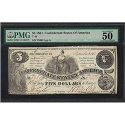 1861 $5 Confederate States of America Note T-36 PMG About Uncirculated 50