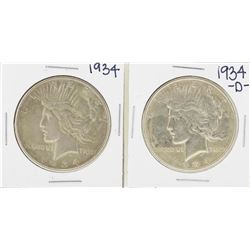 Lot of 1934 & 1934-D $1 Peace Silver Dollar Coin
