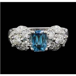 18KT White Gold 1.80 ctw Blue Zircon and Diamond Ring