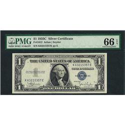 1935C $1 Silver Certificate Note Fr.1612 PMG Gem Uncirculated 66EPQ