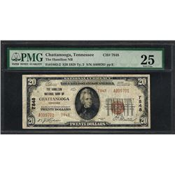 1929 $20 National Currency Note Chattanooga, Tennessee CH# 7848 PMG Very Fine 25