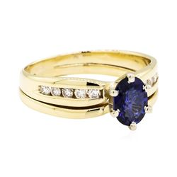 14KT Yellow Gold 0.92 ctw Sapphire and Diamond Ring