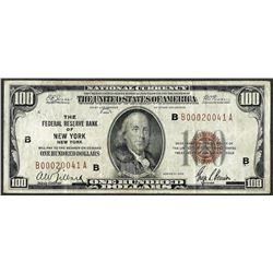 1929 $100 Federal Reserve Bank of New York, NY Currency note