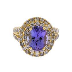 14KT Yellow Gold 4.23 ctw Tanzanite and Diamond Ring