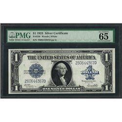 1923 $1 Silver Certificate Note Fr.238 PMG Gem Uncirculated 65EPQ