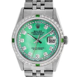 Rolex Men's Stainless Steel Green Mother Of Pearl Diamond Datejust Wristwatch