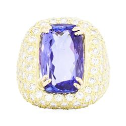18KT Yellow Gold 9.83 ctw Tanzanite and Diamond Ring