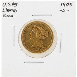 1905-S $5 Indian Head Half Eagle Gold Coin