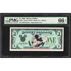 1988 $1 Disney Dollars Note PMG Gem Uncirculated 66EPQ