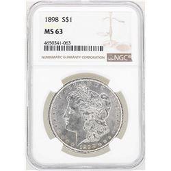 1898 $1 Morgan Silver Dollar Coin NGC MS63