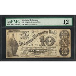 1861 $10 Virginia Treasury Note Obsolete Note PMG Fine 12