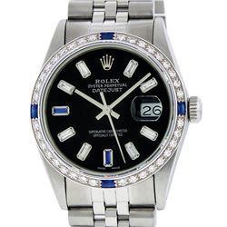 Rolex Men's Stainless Steel Black Baguette Diamond Dial & Sapphire Datejust Wris