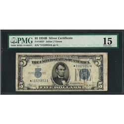 1934B $5 Silver Certificate STAR Note Fr.1652* PMG Choice Fine 15