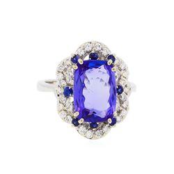 14KT White Gold 5.49 ctw Tanzanite, Sapphire, and Diamond Ring